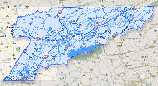 East Tennessee Coverage Map